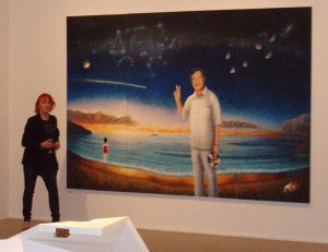 Jeanette with portrait of Guan Wei Por at Campbelltown Regional Gallery 2007